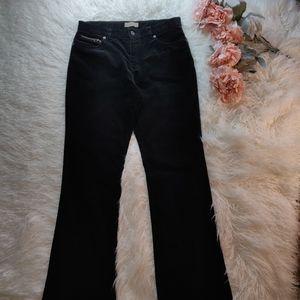 Black velveteen relaxed boot cut jeans, size 10